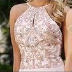 JVN for Jovani beaded peach flowing gown